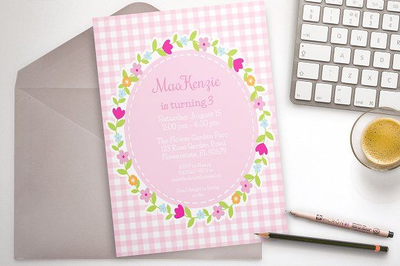 Pink Flower Party invitation by ThePaperOwl on @creativemarket
