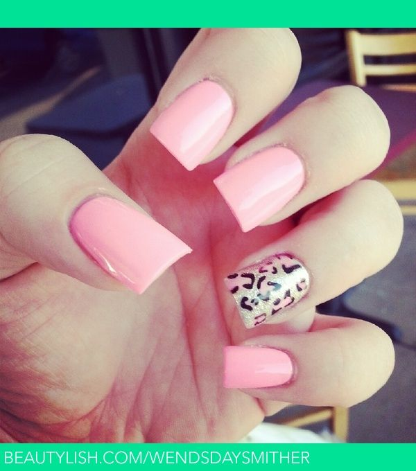 Pink and leopard nail art