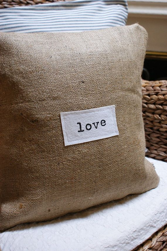burlap pillow with charming label