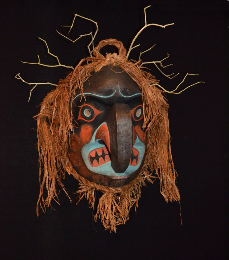 "Beau Dick - Thunder Mask - Red cedar, acrylic paint, and pigment  - 26"" x 24"" x 16""  Beau Dick is one of the most versatile carvers on the coast and is a master of many styles. This Thunder Spirit Mask is indicative of this talent. Here Beau employs his extensive knowledge of Bella Coola/Nuxalk style to create a unique work that is his own."
