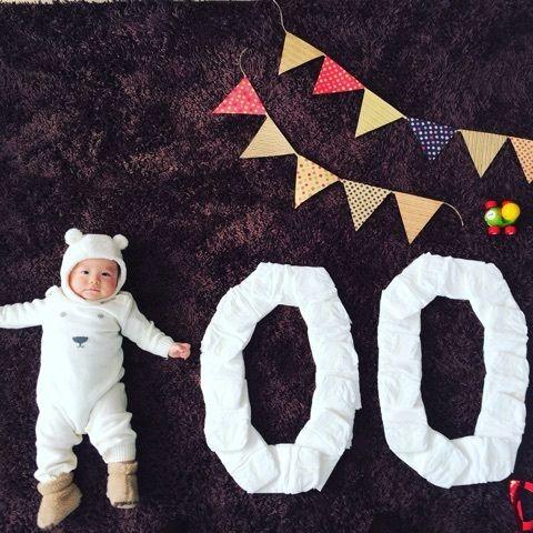 前回のブログから引き続きまたまた写真ネタを一つ。笑100日を迎えた息子。先日お食い初めもしたのですが、100日記念にやりたかったのが100日アートってやつー!…