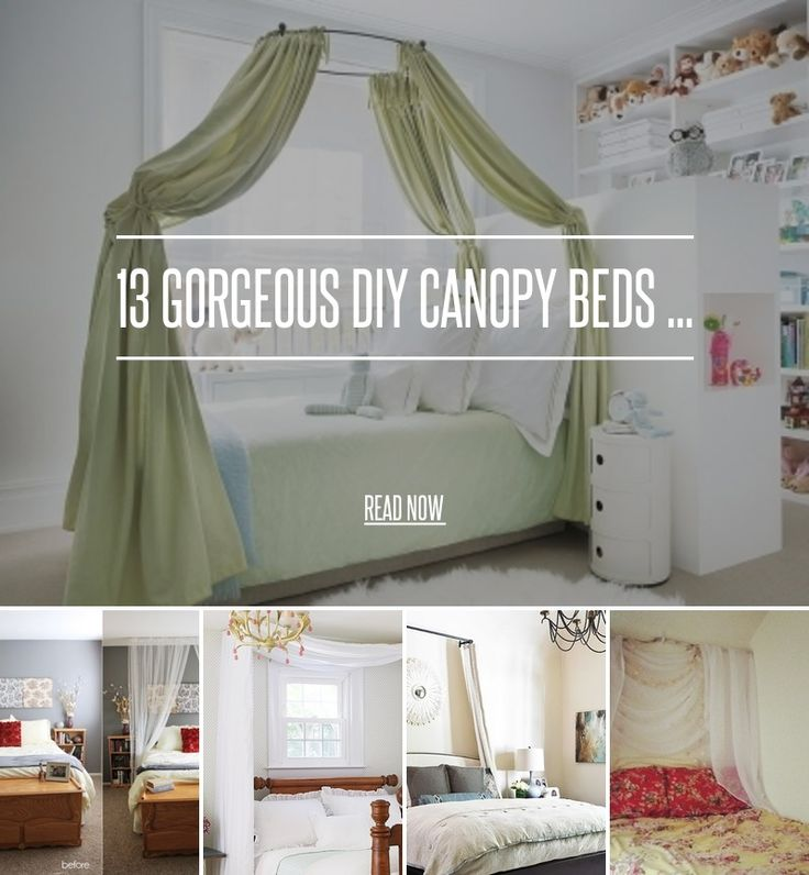 13 Gorgeous DIY Canopy Beds ... - Diy [ more at http://diy.allwomenstalk.com ] Today, I give you beautiful inspirations for DIY Canopy Beds. With the weather getting colder every day, you might think that you don't need more reasons not to get out of bed. While that is true, I can also assure you that making one of these DIY canopy beds should be added to your Must-Craft List. Really, they're wonderful and easy home decor projects. Hope you like the... #Diy #Drape #Creative #Hoop #Bed…