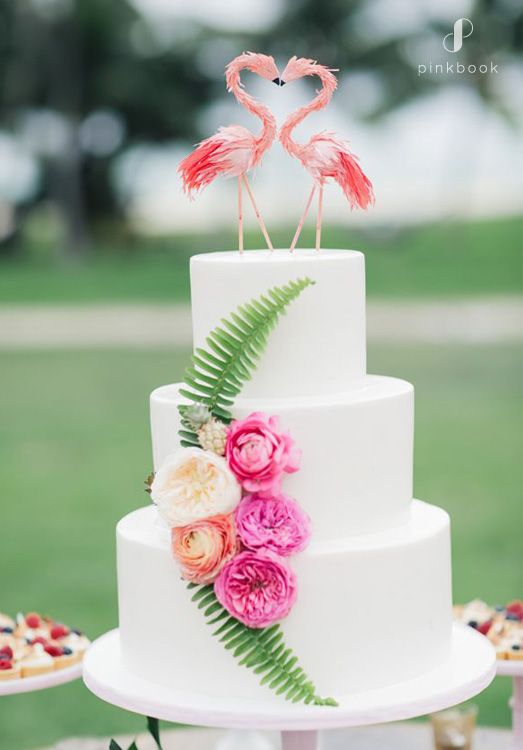 flamingos wedding cake topper | 34 Unique Wedding Cake Toppers #weddingcaketoppers #cakes #weddingcakes