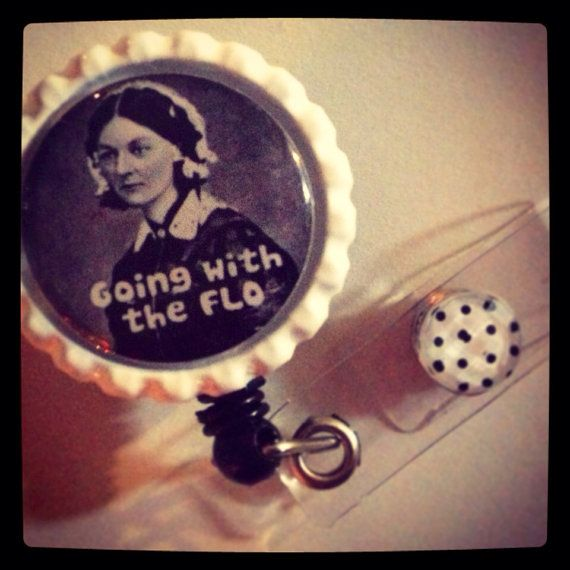 Florence Nightingale 'Going With the Flow' Bottle Cap Retractable ID Snap Badge Reel