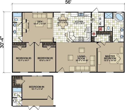 Layouts of doublewides from freedom homes champion homes for Double wide floor plans with photos
