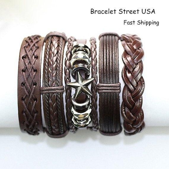 5 Piece Unisex Handmade Leather Bracelet Set Men's Women's Cuff Braclet 5P-392