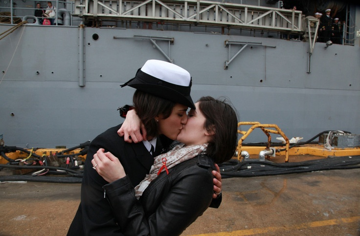 "When Petty Officer Marissa Gaeta kissed Petty Officer Citlalic Snell today, history was made. As The Virginian-Pilot explains: ""It's a time-honored tradition at Navy homecomings — one lucky sailor is chosen to be first off the ship for the long-awaited kiss with a loved one. Today, for the first time, the happily reunited couple was gay."" #EqualityThe Kisses, Lesbian Couples, A Kisses, First Kisses, Ships, Sailors, Virginia Beach, The Navy, Us Navy"