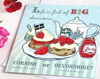 Cream Tea Card - Cream Tea Greetings Card - Big Decisions, Cornish or Devonshire? - Funny Card - Birthday Card - Friendship Card