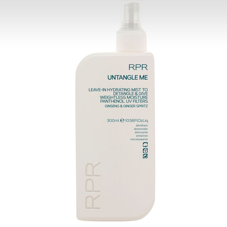 RPR UNTANGLE ME. Leave-In hydrating mist to detangle & give weightless moisture. Pantheon and UV filters. Ginseng & Ginger Spritz. www.rprhaircare.com.au