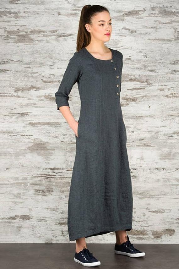 12252f119415 Dark Grey Long Linen Dress * 100% Pure Linen Loose Fitting Dress ...