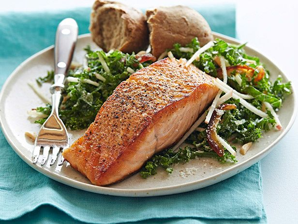 Pan-Seared Salmon with Kale and Apple Salad recipe from Food Network Kitchen via Food Network