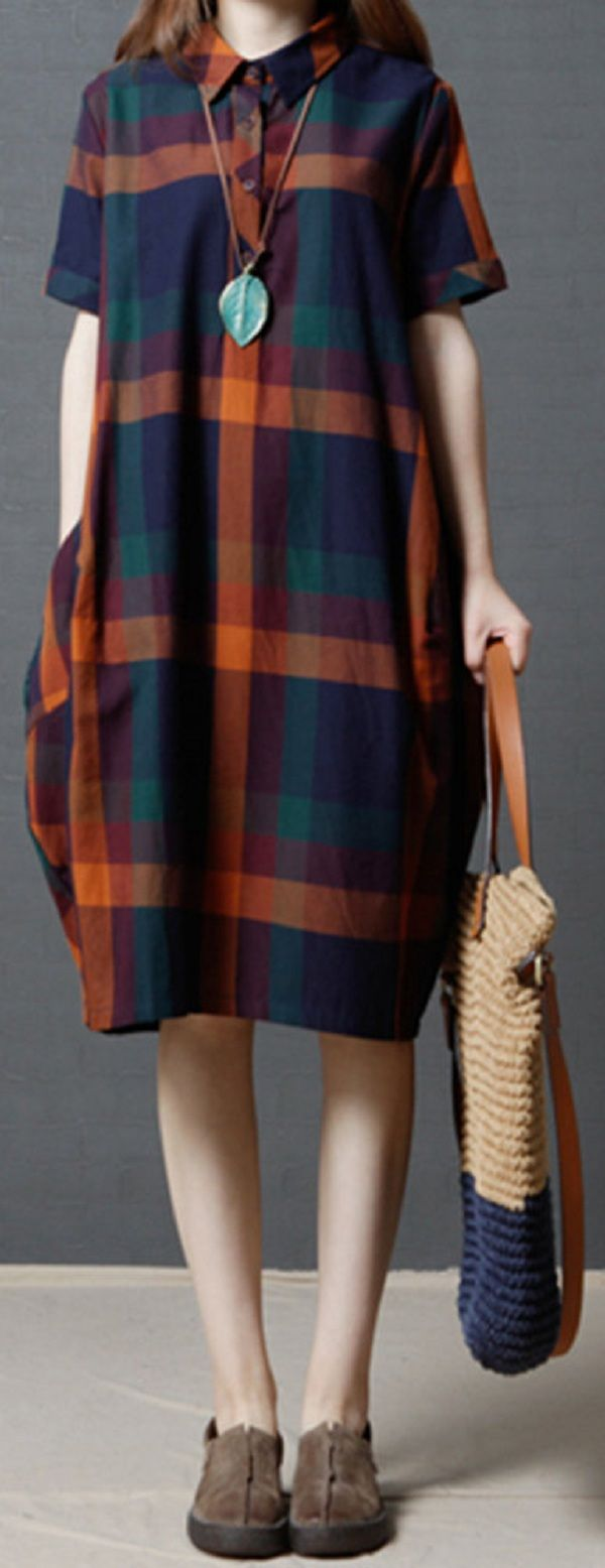 US$ 25.56 Plaid Short Sleeve Lapel Vintage Women Loose Dresses
