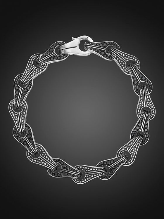 10mm Sterling Silver Chain Link Bracelet with Pave Black Diamonds
