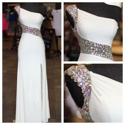 Beaded Bodycon Prom Dress,One Shoulder Prom Dress,Custom Made Evening Dress,#1766