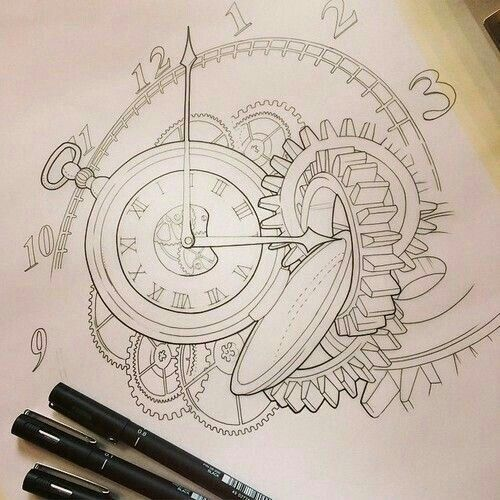 Clock gear spiral drawing (tattoo inspiration)
