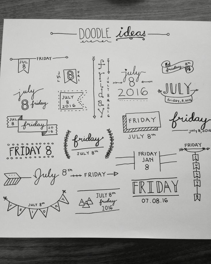 Doodle ideas for date and time with fun banners and designs :)