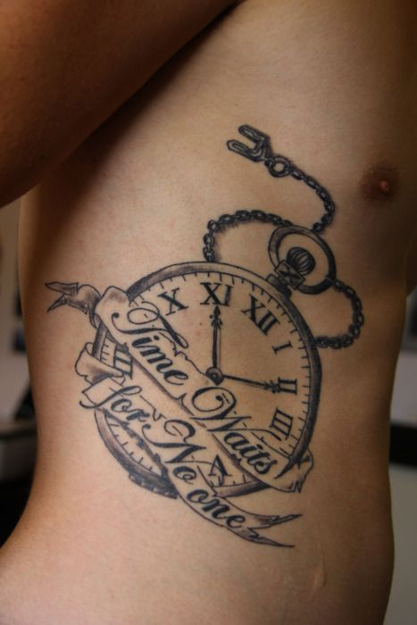 """Previous Pinner: """"Time waits for no-one"""" means to me, don't sit around and wait for things to come to you, go and get them (ie. Follow your dreams and fight for them) The time on the clock is 11:11 (make a wish) which ties in with the meaning. Done by Richard at Gravity Tattoos, Tauranga NZ."""