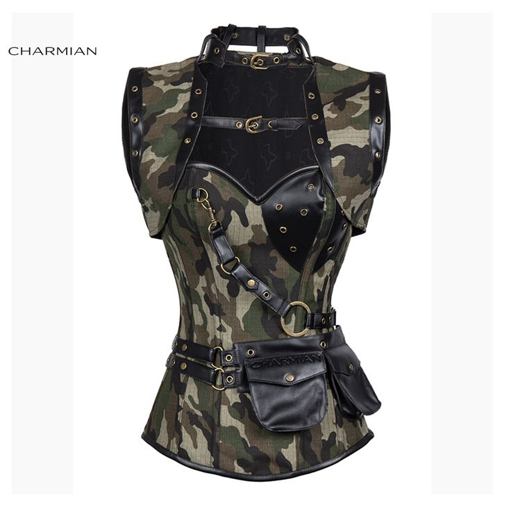 Charmian Women's Plus Size Retro Gothic Steampunk Corset Spiral Steel Boned Green Purple Corset Brocade Bustiers with Pouch Belt What a beautiful image Visit our store