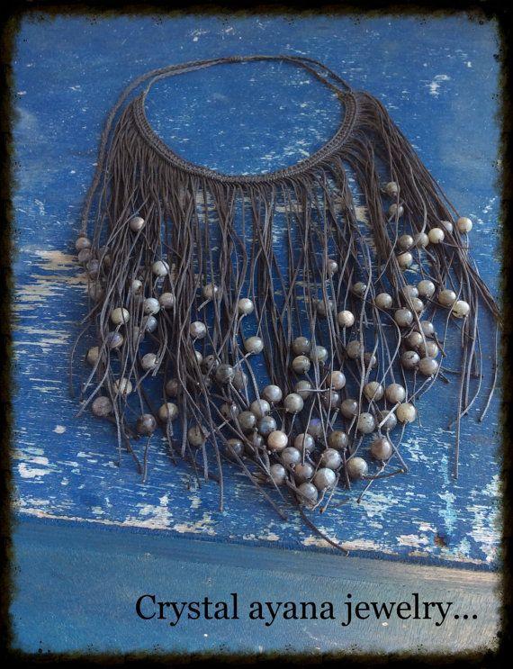 Macrame collana micro macramè con Labradorite grigio Perline di pietra. Proposta di Natale perfetta. on etsy