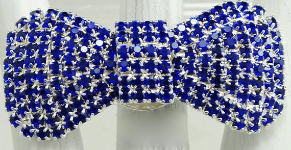 Sparkly Rhinestone Bow Ring/Blue/Wedding jewelry/Gift For Her/StatementRing/Spring Jewelry/Adjustable/under 20 USD /