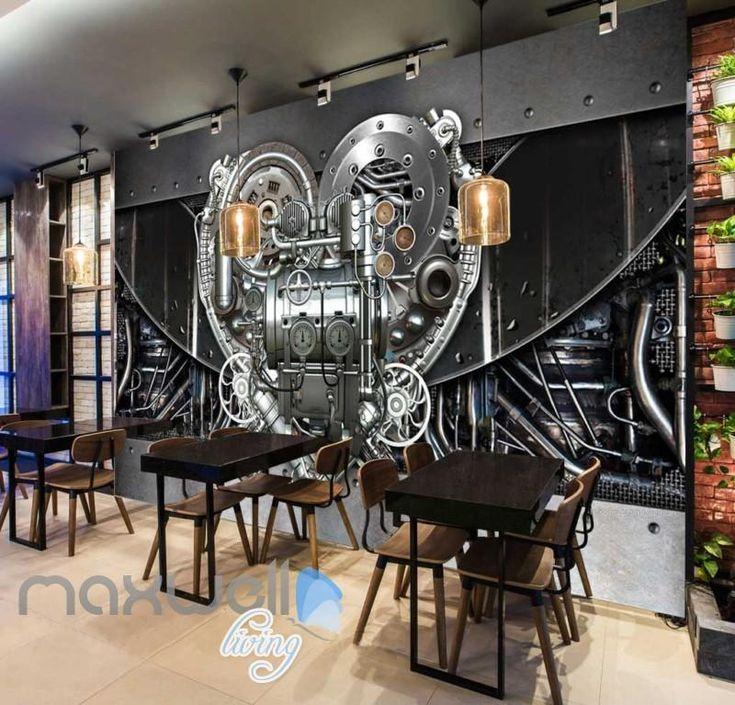 Industrial Fabric Machine Heart Shape Art Wall Murals Wallpaper Decals Prints Decor IDCWP-JB-000220