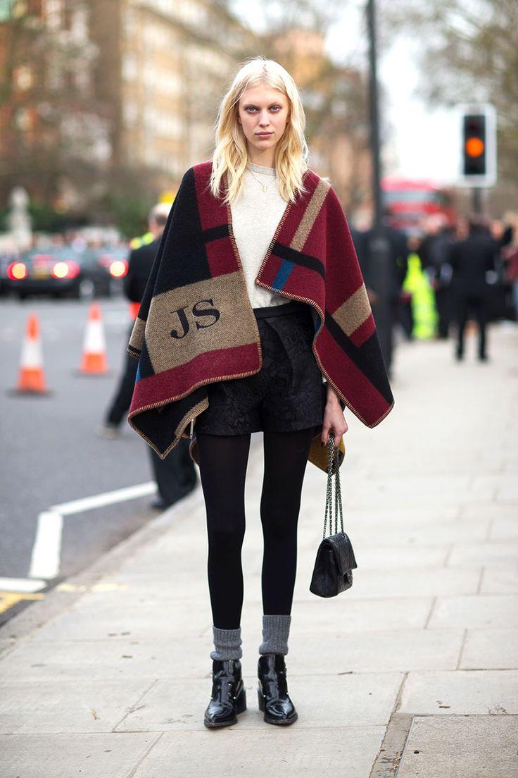 London Town: Street Style Fall 2014 - Burberry cape #Minimalist #Minimalism #Fashion