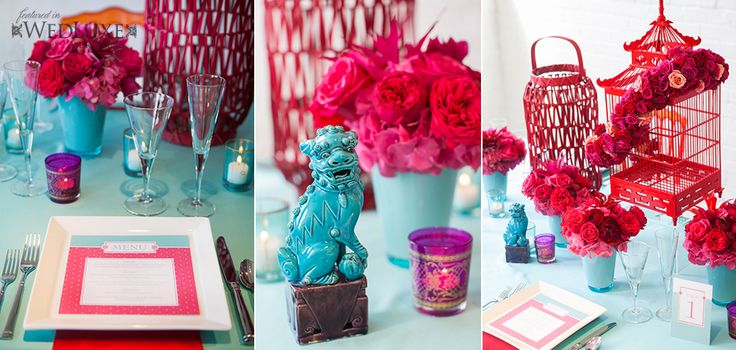 Love these colours and the Foo dog!  Custom square menu and table number by Laura K Invitations. Stunning florals by Fuscia Designs Styled by @Cynthia Martyn Fine Events