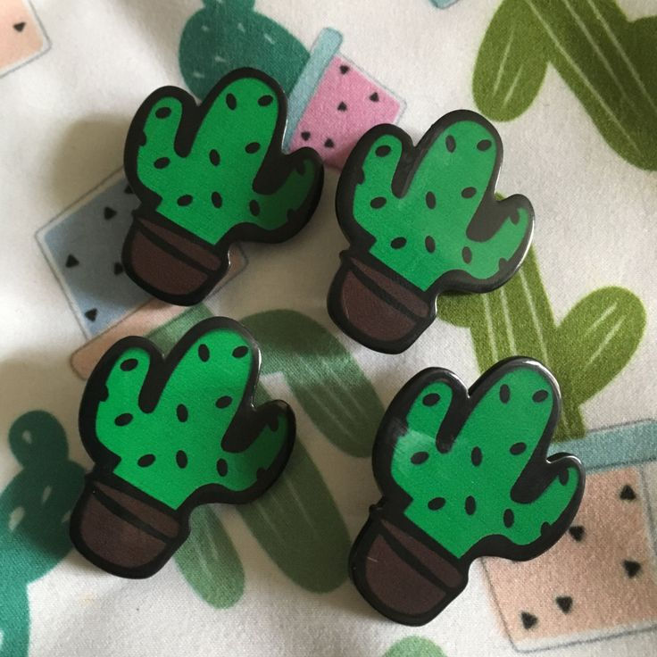 Cute green cartoon Acrylic Cactus saguaro brooch pin, Great stocking filler or thank you gift. by Mycactusadventure on Etsy