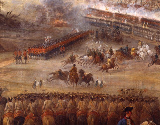 """""""Maréchal de Saxe"""" in der Kutsche übergibt Befehle. Grund: Er litt zu dieser Zeit an Wassersucht!"""
