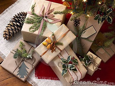 Rustic decorations for winter holidays, gift boxes