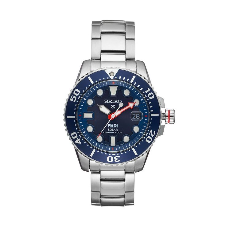 Seiko Men's Prospex Padi Special Edition Stainless Steel Solar Dive Watch - SNE435, Silver
