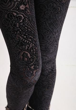 LASER CUT VELVET LEGGING. Rock, Metal, Pink, Punk, Alternative, Emo, Goth, Music, Band, Merch,Women's clothing apparel, black, distressed Www.RockTheFOut.com