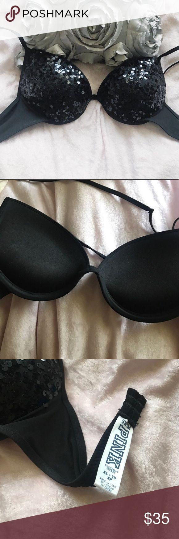 Victoria Secret push-up bikini top Black with sequins. Worn once. Size XS. fits an A/B cup. PINK Victoria's Secret Swim Bikinis