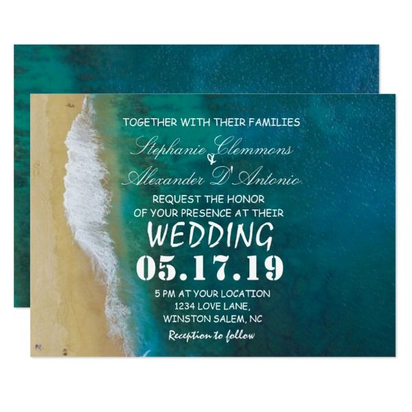 Modern Tropical Destination Beach Sea Wedding Card Customizable Invitations #beach #summer #wedding #invitation