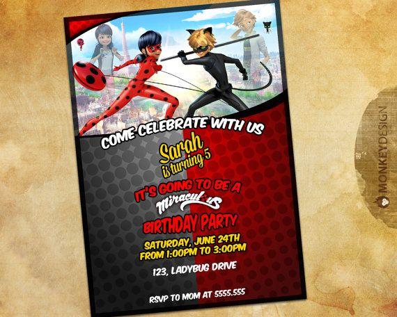 Miraculous Ladybug Birthday Party Invitation par MonkeyDesignShop