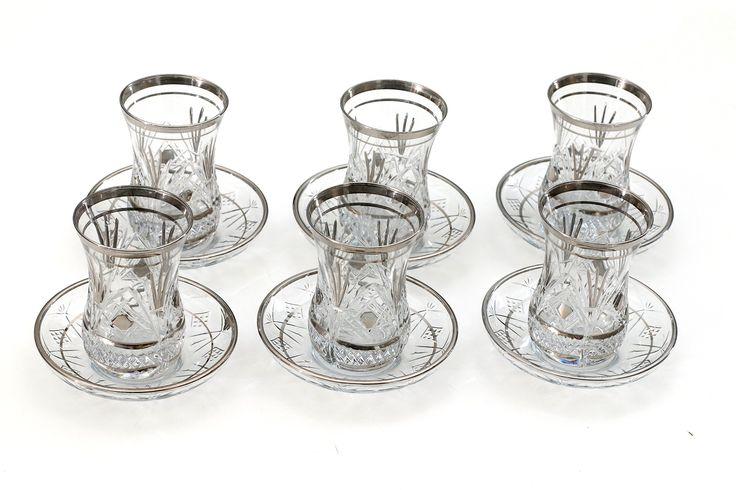 Original Turkish Tea Glasses with saucers sets (6 Pcs) (Siver)