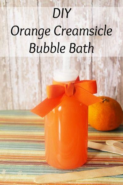 DIY Orange Creamsicle Bubble Bath (homemade recipe for bubble bath, kid friendly)