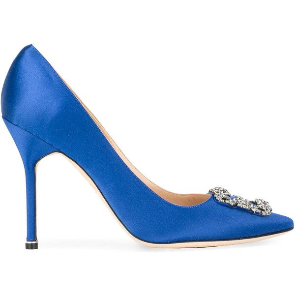 Manolo Blahnik Hangisi Pumps (1,230 CAD) via Polyvore featuring shoes, pumps, buckle shoes, high heeled footwear, real leather shoes, royal blue high heel shoes and royal blue high heels pumps