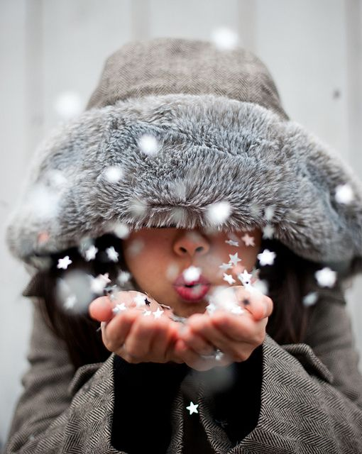 Idea for Christmas Photo Card Pose - put the kids in a winter coat plus hand fulls of fake snow or even some confetti would be so cute.