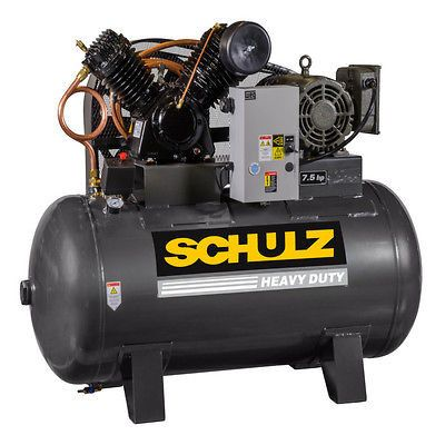 7.5 HP Single Phase, 80 Gallon, 175 PSI, 30 CFM, Schulz Air Compressor