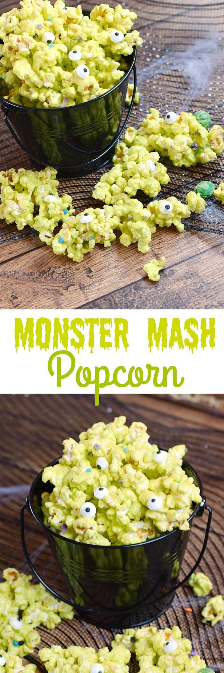 Surprise your little ghosts and goblins with this fun Monster Mash Popcorn and watch them squeal in delight | cookingwithcurls.com