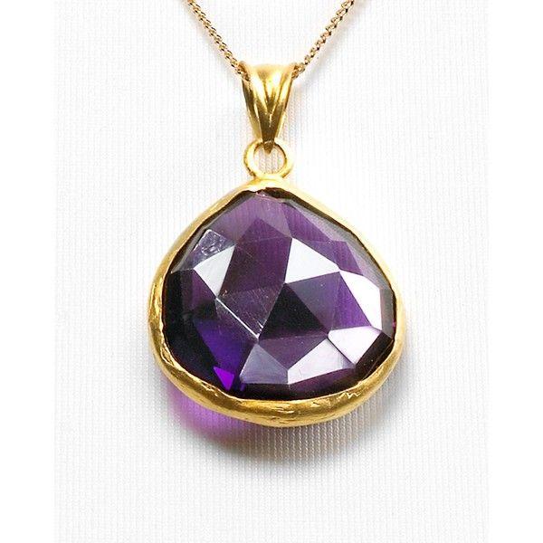 "Coralia Leets Purple Quartz Pendant Necklace, 16"" ($180) ❤ liked on Polyvore featuring jewelry, necklaces, women, clasp necklace, quartz necklace pendant, sparkly necklace, purple pendant and quartz jewelry"