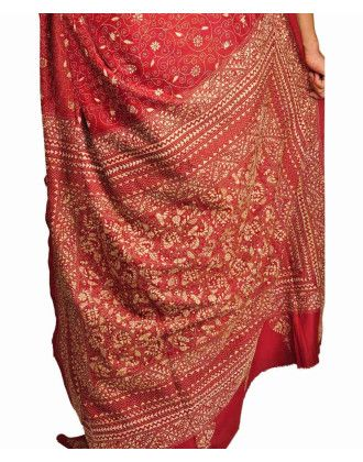 Rust Kantha Work Pure Silk Saree
