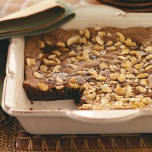 Gooey Caramel Cashew Brownies Recipe -These ooey-gooey brownies are bursting with chocolate chips, gobs of caramel and plenty of cashews. —Marilyn Miller, Fort Washington, Pennsylvania