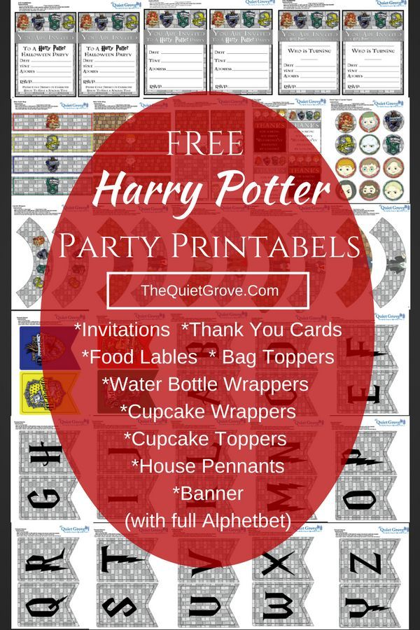 FREE Harry Potter Party Printables 716 best