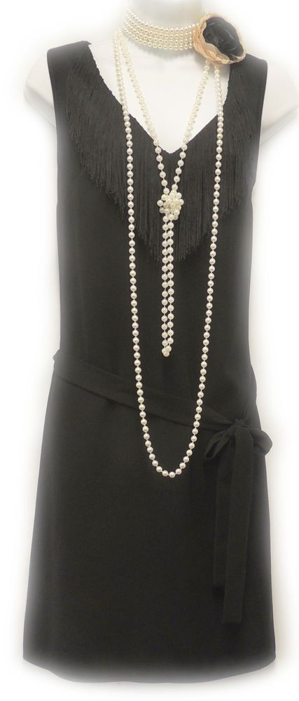 New Vtg 1920's Black Gatsby Deco Downton Abbey Flapper Charleston Dress #VivalaRosa