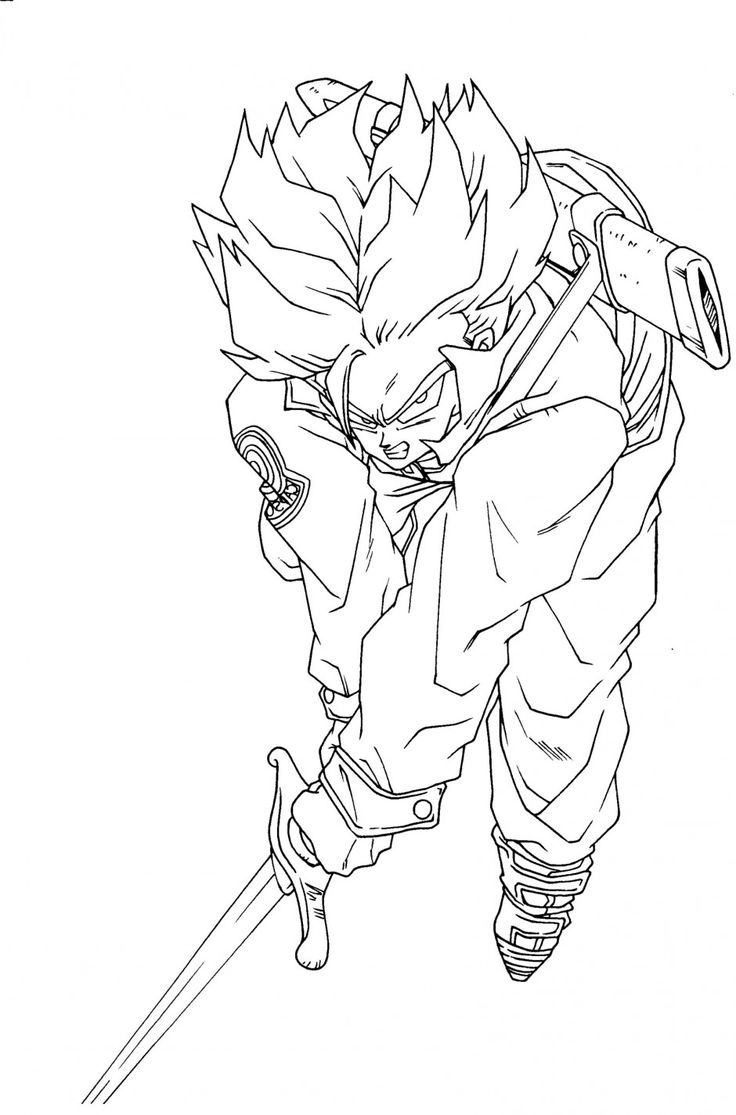 dragon ball z saiyan trunks coloring pages trunks dragon ball coloring pages id 19802 uncategorized - Dragon Ball Goku Coloring Pages