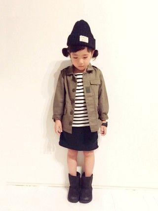 yuuunaさんの「ボートネック長袖ボーダーTシャツ(petit main|プティマイン)」を使ったコーディネート
