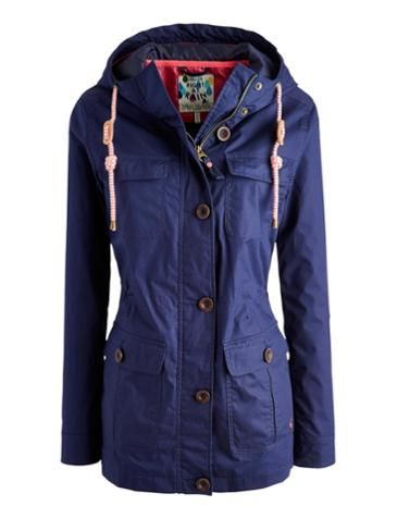 Joules Women's Waterproof Front Pocket Jacket, Marine Navy.                     Part of the Right as Rain collection this useful 100% waterproof jacket with front pockets is a useful piece to have to hand when the weather's not all it could be. An internal drawstring adds some shape too.