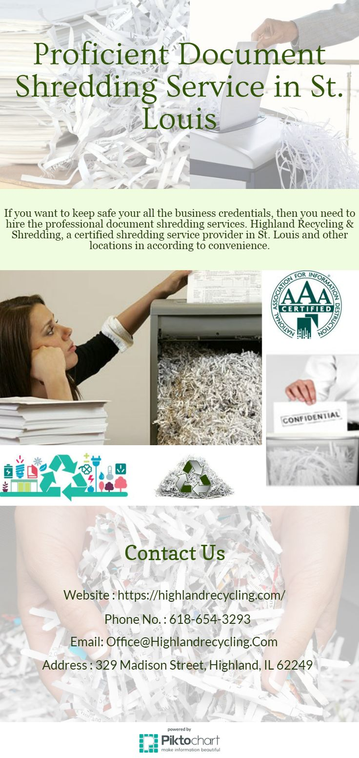 If you want to keep safe your all the business credentials, then you need to hire the professional document shredding services. Highland Recycling & Shredding, a certified shredding service provider in St. Louis and other locations in according to convenience.